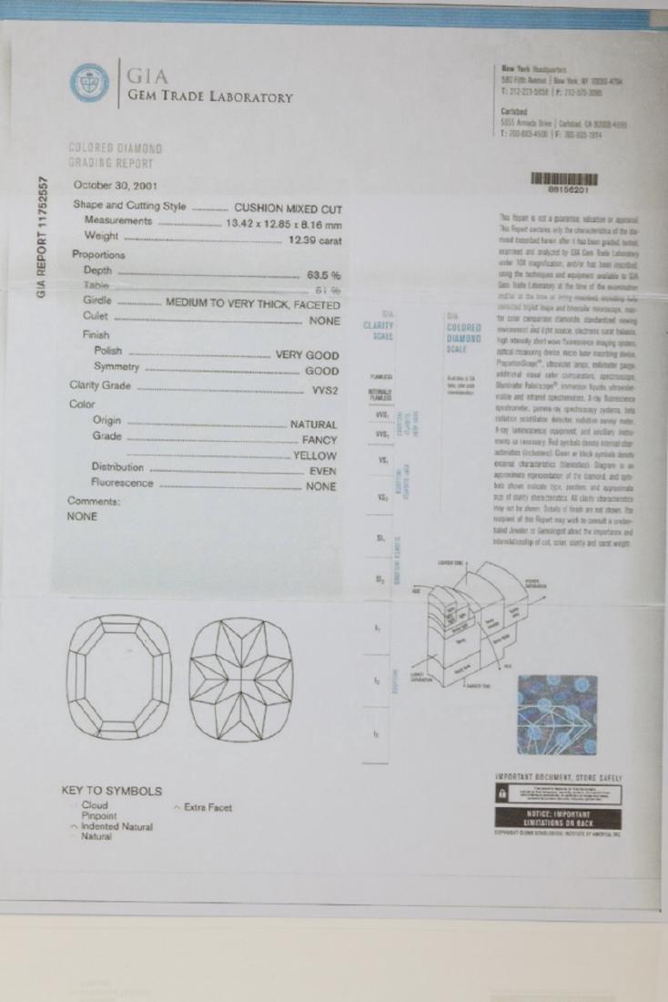 12.39ct GIA VVS2 Fancy Yellow Diamond Plat. Ring - 9