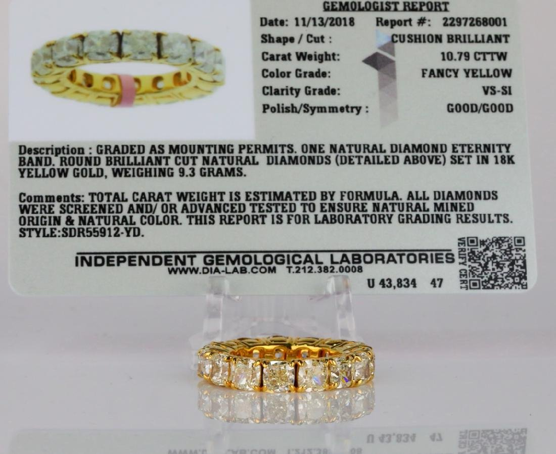 10.79ctw VS2-SI1 Fancy Yellow Diamond & 18K Band