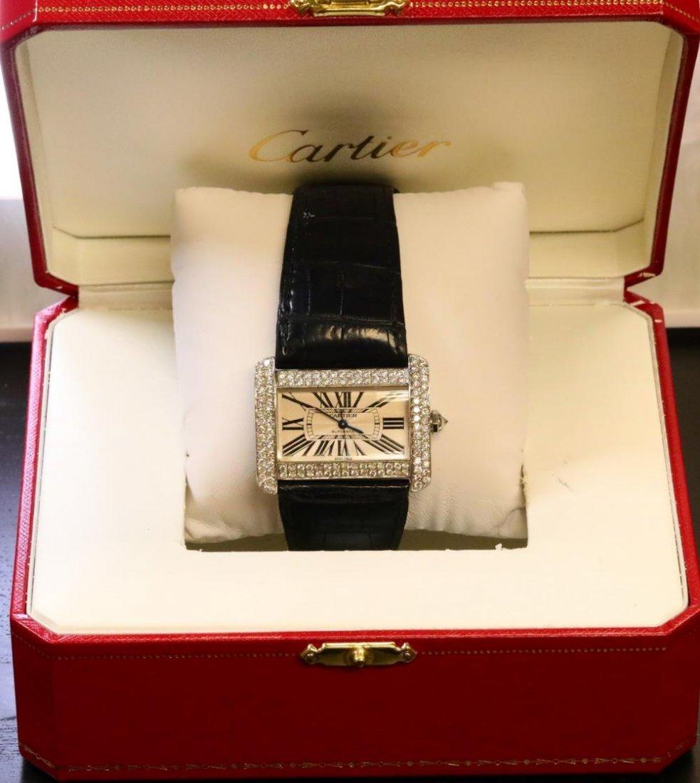 Cartier Tank Divan Custom 3.8ctw Diamond SS Watch