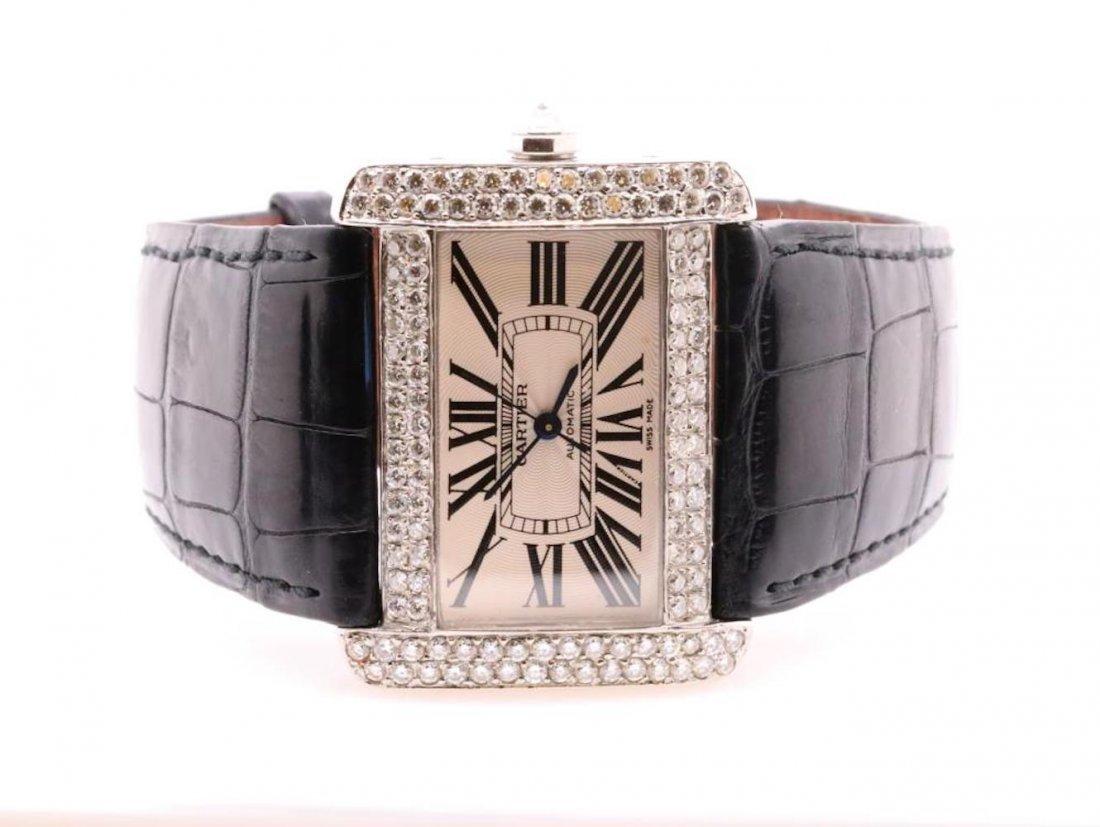 Cartier Tank Divan Custom 3.8ctw Diamond SS Watch - 2