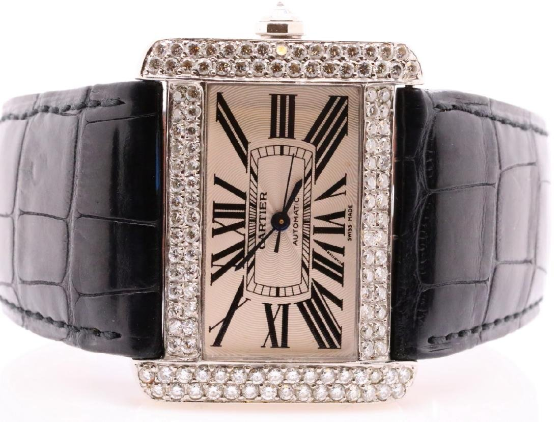 Cartier Tank Divan Custom 3.8ctw Diamond SS Watch - 3