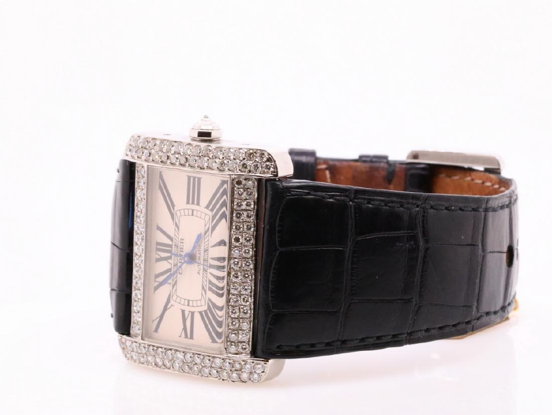 Cartier Tank Divan Custom 3.8ctw Diamond SS Watch - 4
