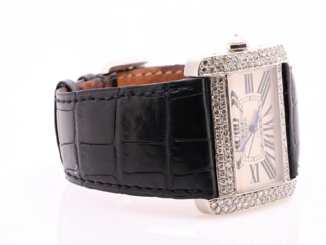 Cartier Tank Divan Custom 3.8ctw Diamond SS Watch - 5