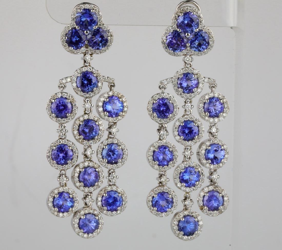 26.30ctw Tanzanite, 5.65ctw Diamond 14K Earrings
