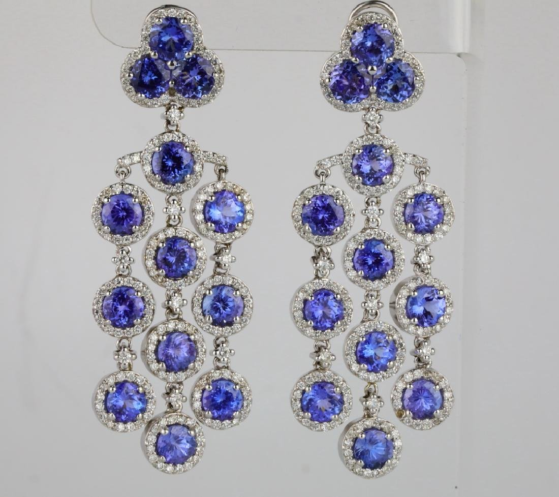 26.30ctw Tanzanite, 5.65ctw Diamond 14K Earrings