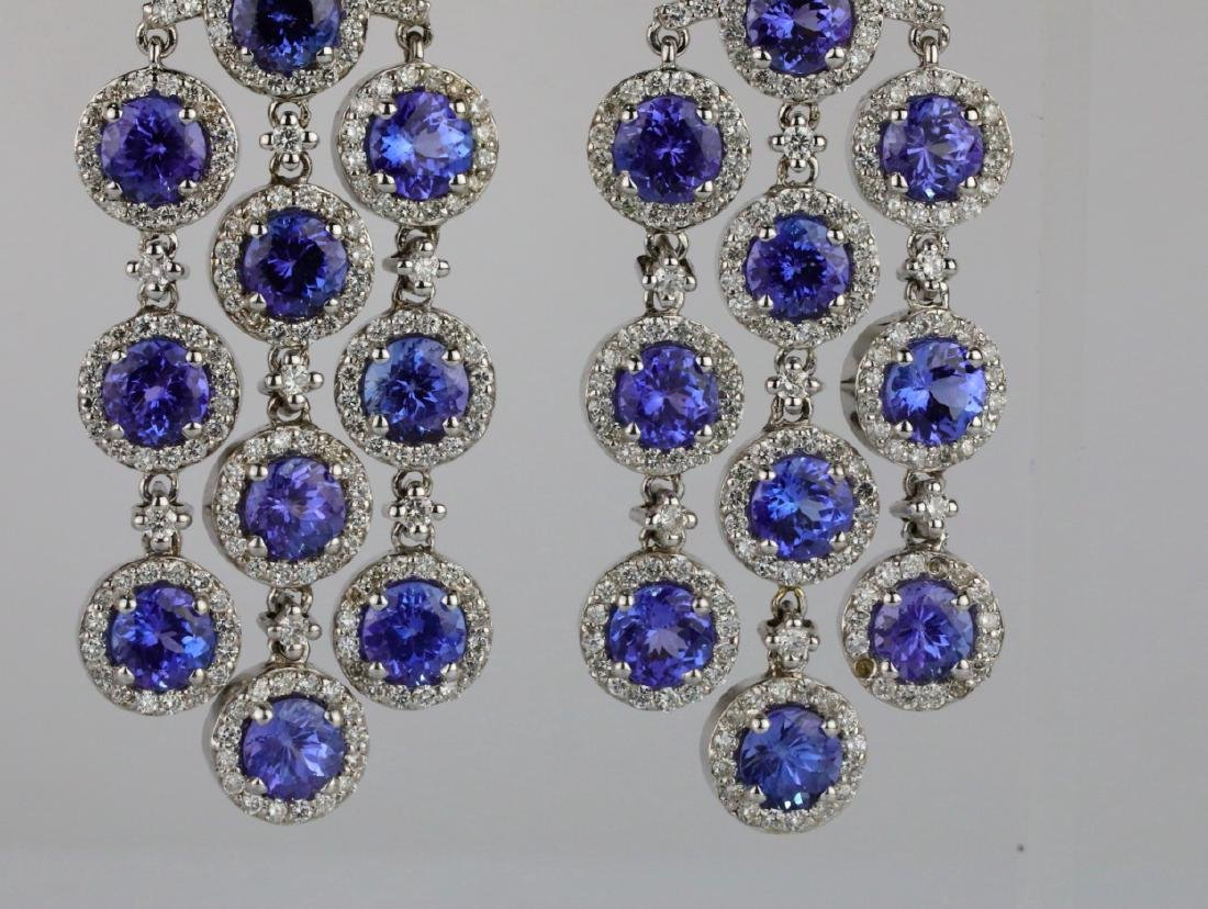 26.30ctw Tanzanite, 5.65ctw Diamond 14K Earrings - 2