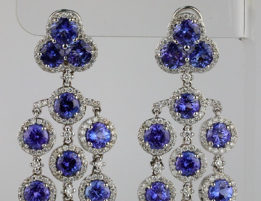 26.30ctw Tanzanite, 5.65ctw Diamond 14K Earrings - 3