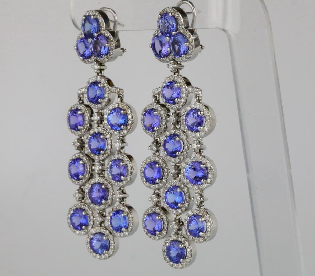 26.30ctw Tanzanite, 5.65ctw Diamond 14K Earrings - 4