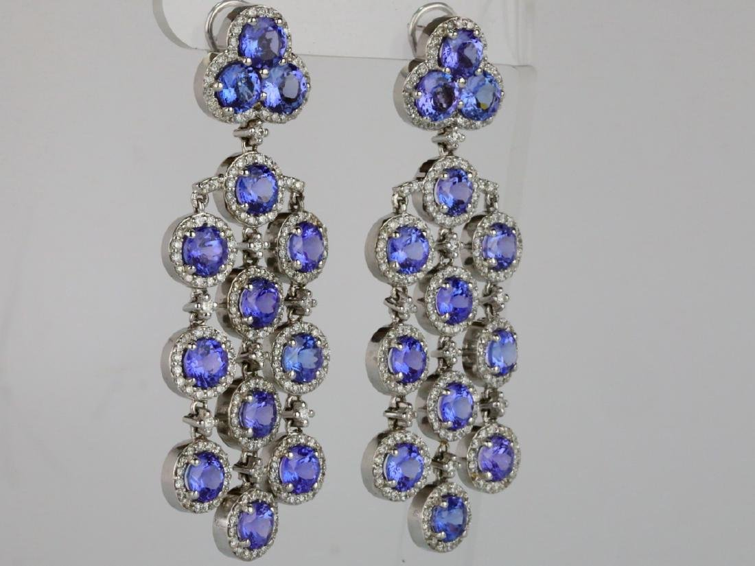 26.30ctw Tanzanite, 5.65ctw Diamond 14K Earrings - 5