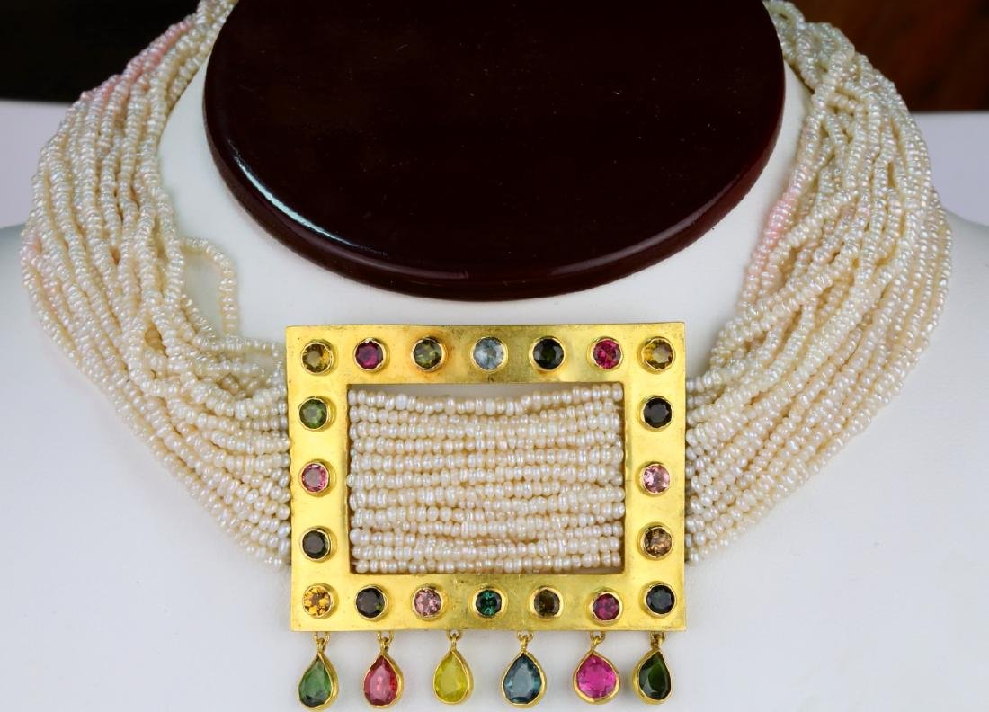 6.45ctw Multi-Colored Sapphire 18K Pearl Necklace