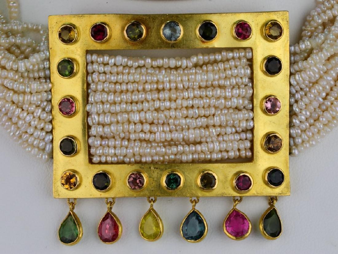 6.45ctw Multi-Colored Sapphire 18K Pearl Necklace - 2