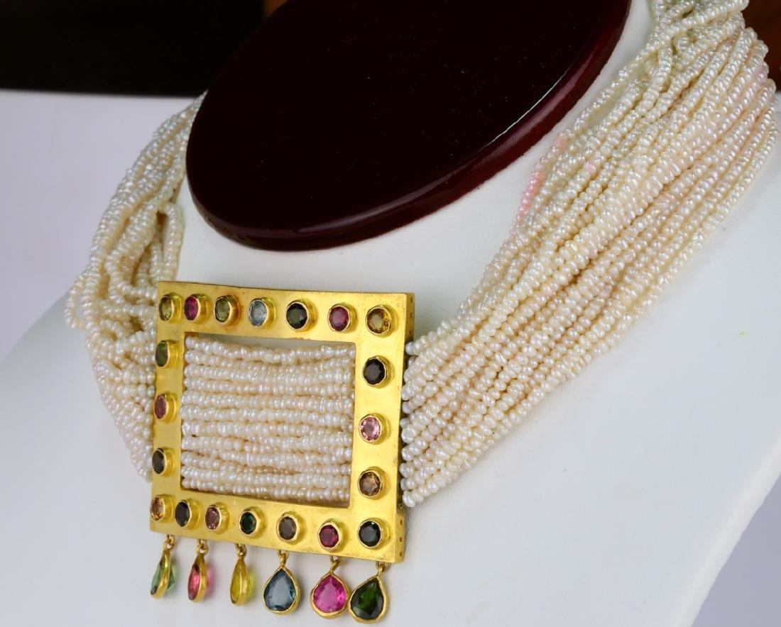 6.45ctw Multi-Colored Sapphire 18K Pearl Necklace - 3
