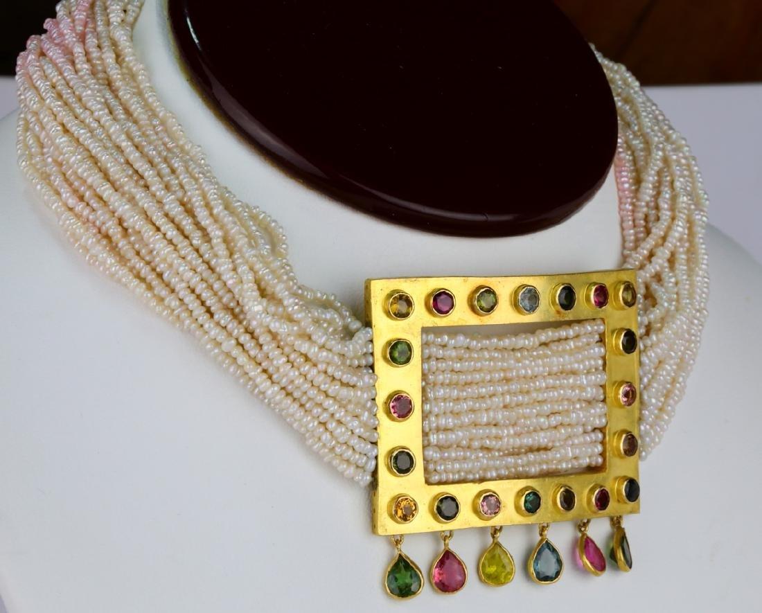6.45ctw Multi-Colored Sapphire 18K Pearl Necklace - 4