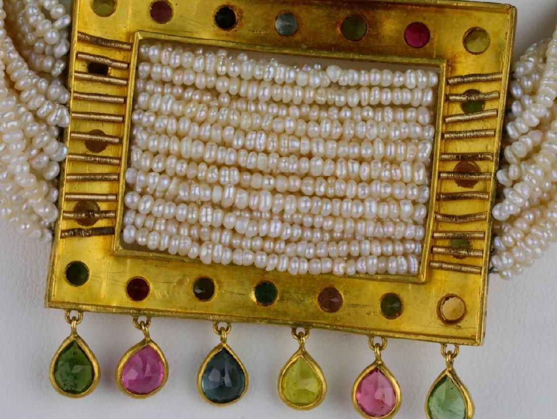 6.45ctw Multi-Colored Sapphire 18K Pearl Necklace - 5