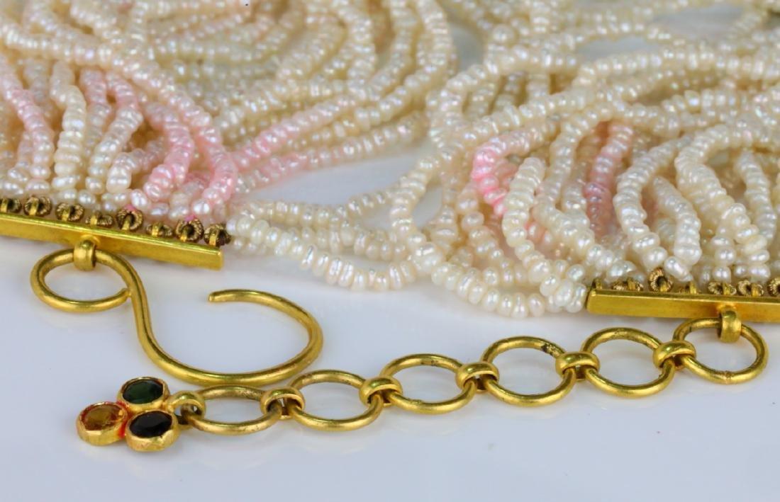 6.45ctw Multi-Colored Sapphire 18K Pearl Necklace - 6