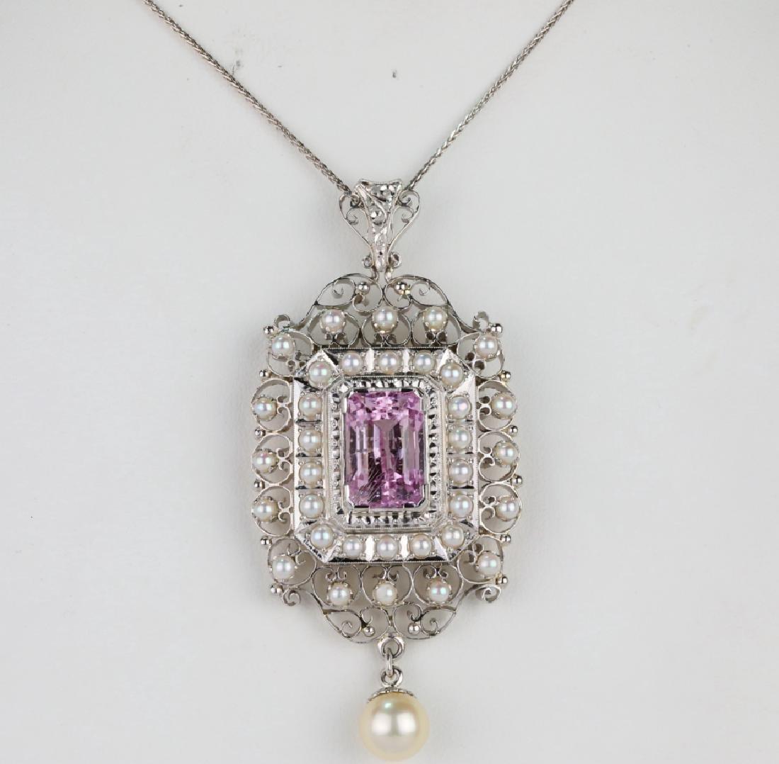 """11ct Kunzite, Pearl & Platinum 18"""" Necklace"""