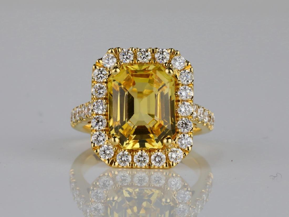 7.79ct GIA Yellow Sapphire & 1.50ctw Diamond Ring