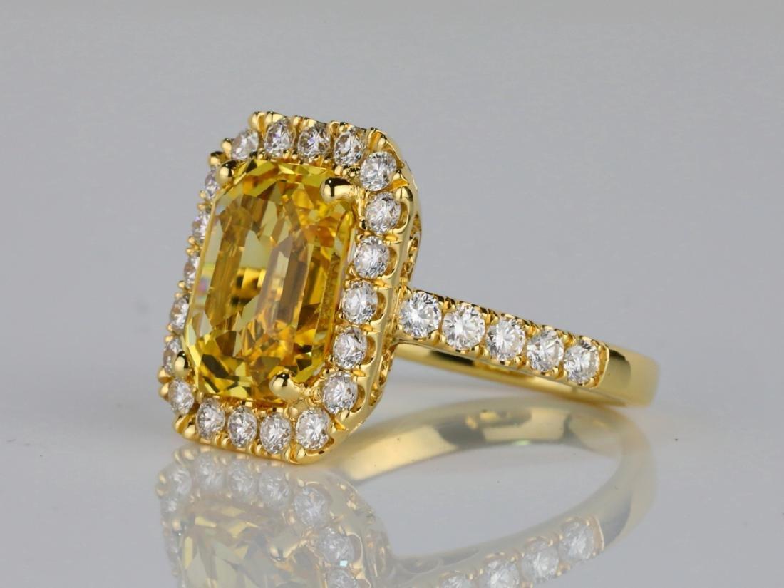 7.79ct GIA Yellow Sapphire & 1.50ctw Diamond Ring - 2