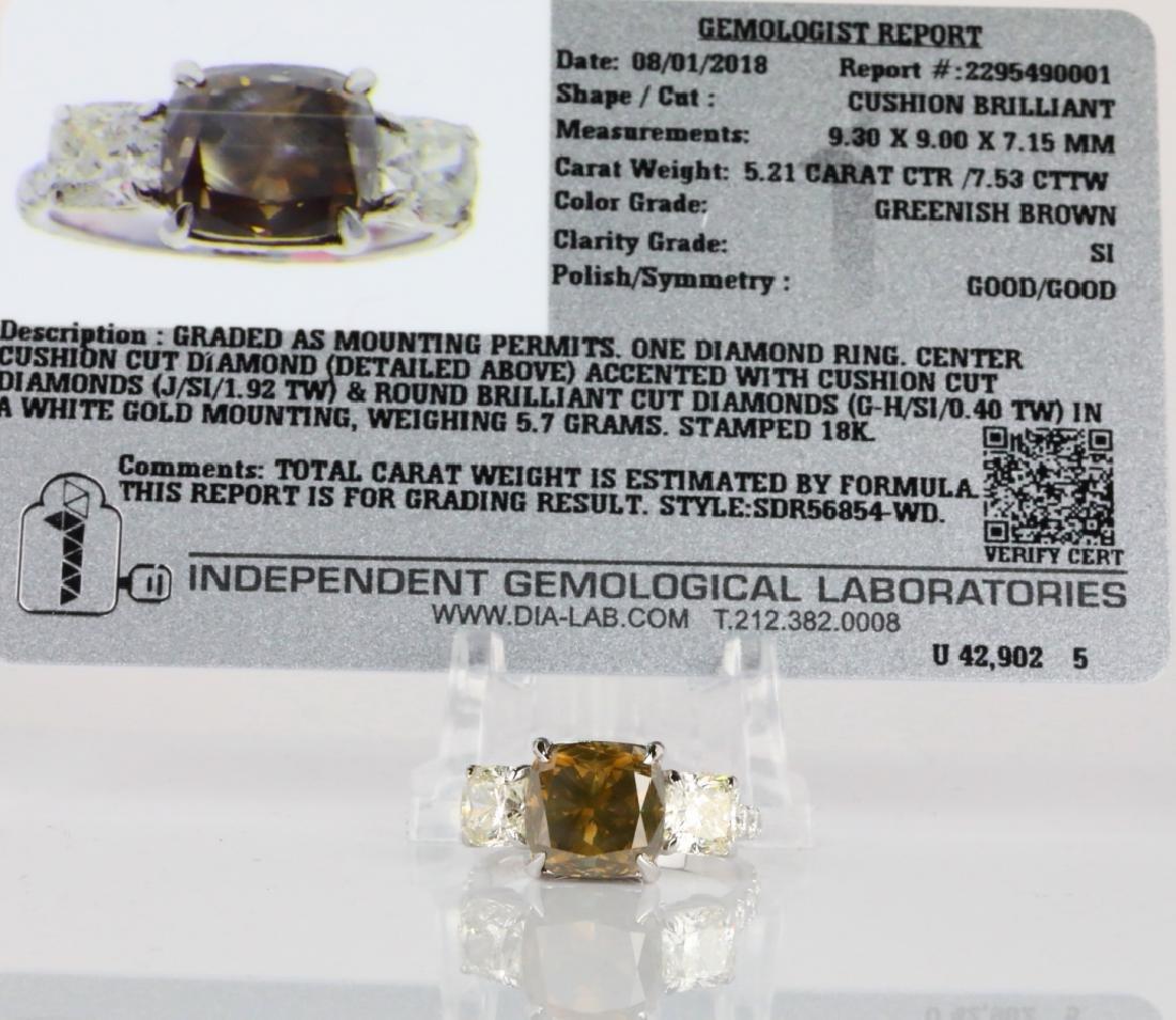 7.53ctw Greenish Brown & White Diamond 18K Ring