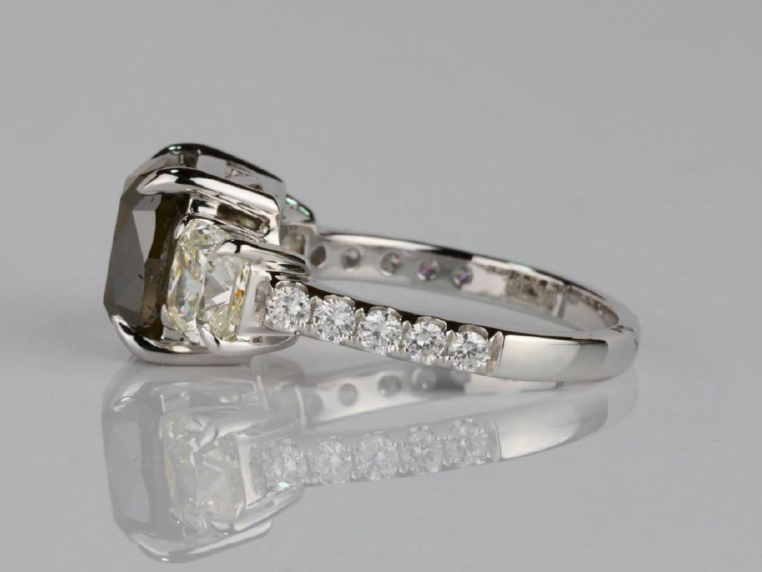 7.53ctw Greenish Brown & White Diamond 18K Ring - 5