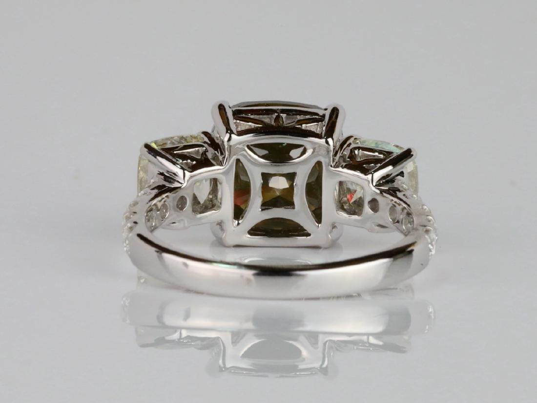 7.53ctw Greenish Brown & White Diamond 18K Ring - 7