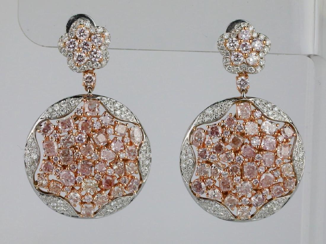 7.50ctw Argyle Pink & White Diamond 18K Earrings