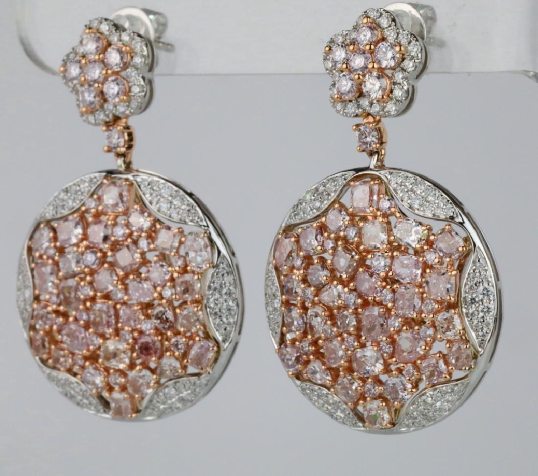 7.50ctw Argyle Pink & White Diamond 18K Earrings - 2