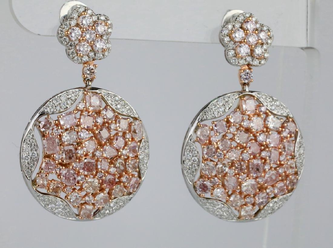 7.50ctw Argyle Pink & White Diamond 18K Earrings - 3