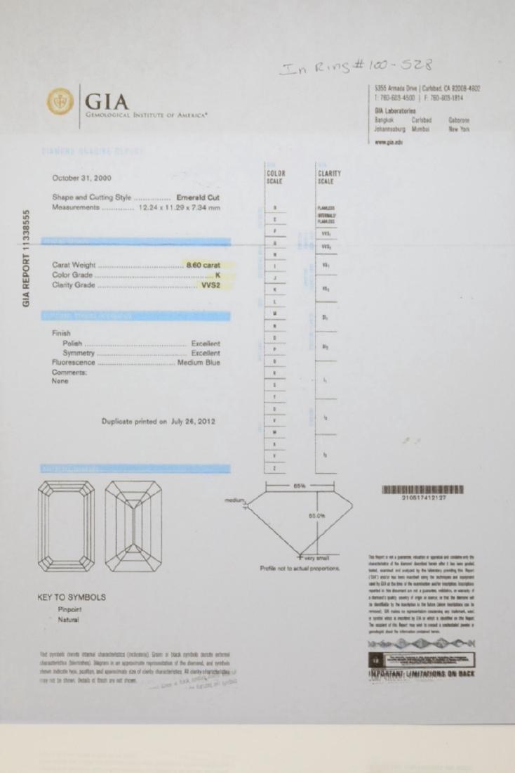 8.60ct GIA VVS2/K Diamond in Platinum Setting - 10