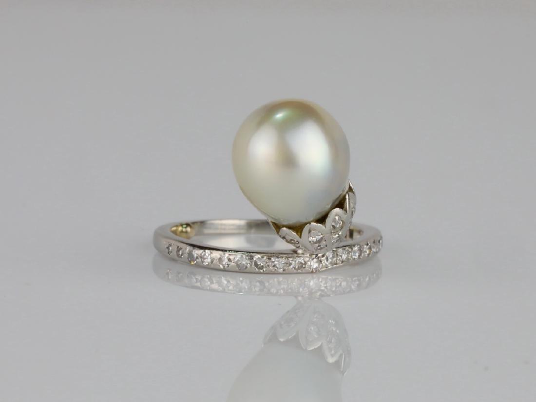 9.6mm GIA Semi-Baroque Pearl, Diamond Platinum Ring