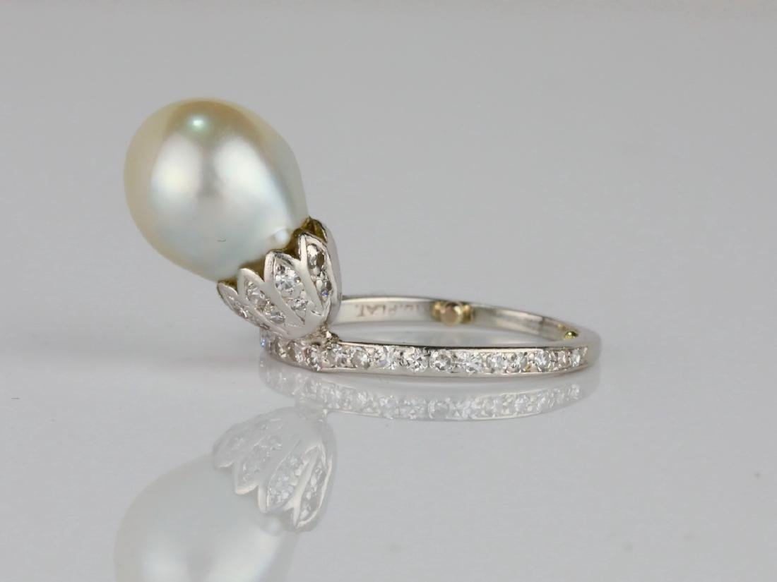 9.6mm GIA Semi-Baroque Pearl, Diamond Platinum Ring - 2