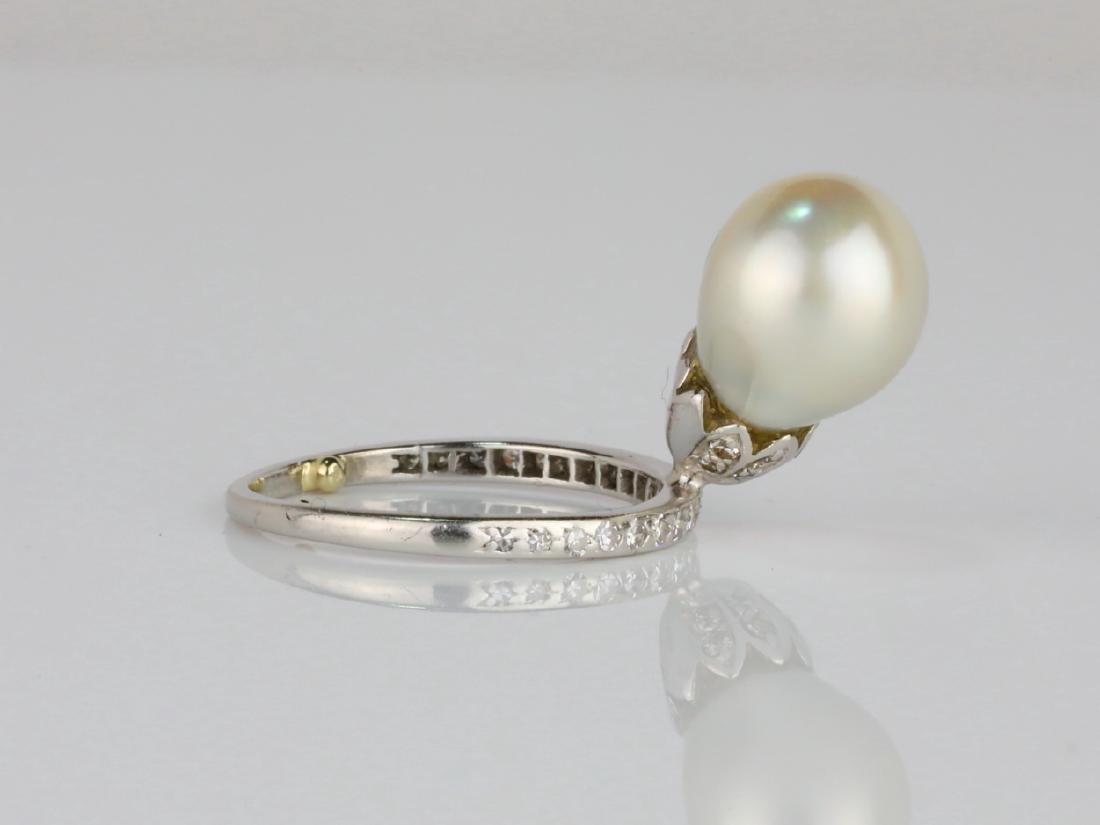 9.6mm GIA Semi-Baroque Pearl, Diamond Platinum Ring - 3