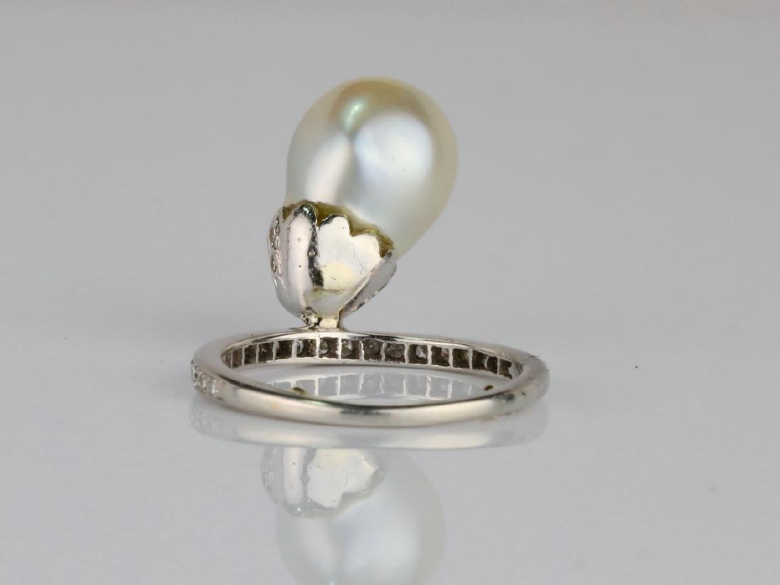 9.6mm GIA Semi-Baroque Pearl, Diamond Platinum Ring - 4
