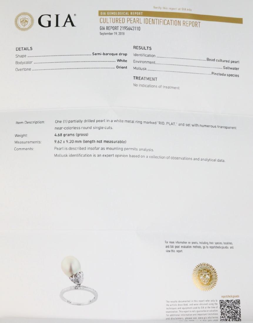 9.6mm GIA Semi-Baroque Pearl, Diamond Platinum Ring - 5