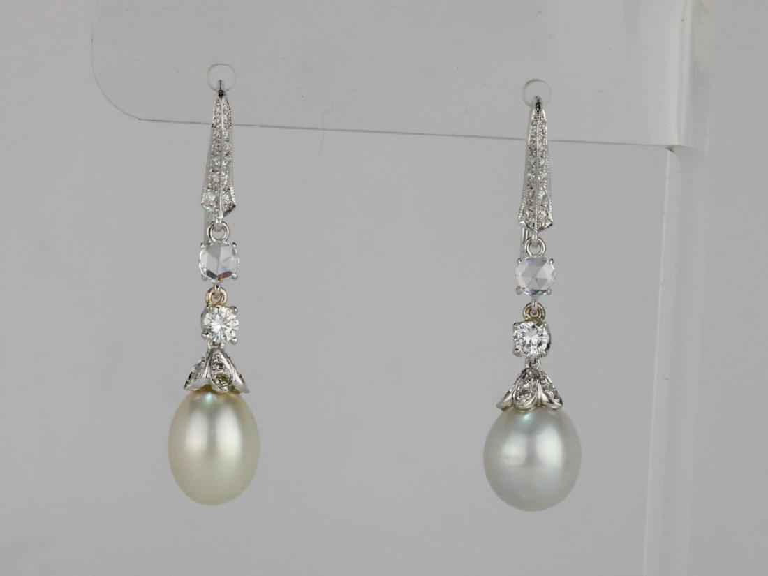9.5mm Drop Pearl, 0.90ctw Diamond 18K Earrings