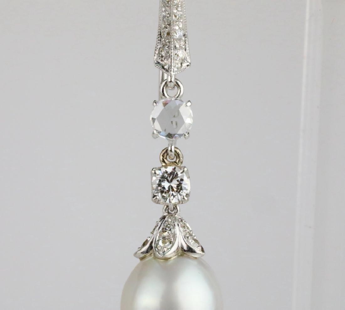 9.5mm Drop Pearl, 0.90ctw Diamond 18K Earrings - 2