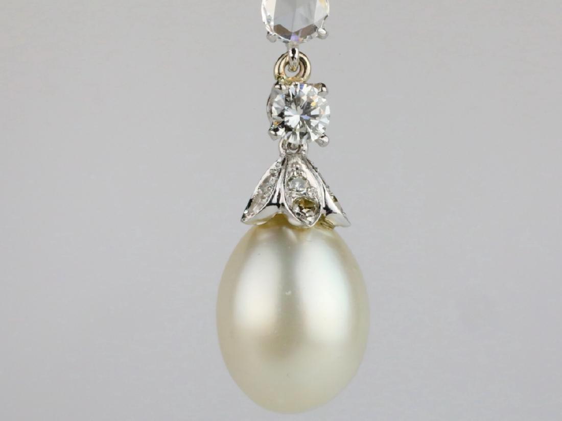 9.5mm Drop Pearl, 0.90ctw Diamond 18K Earrings - 3