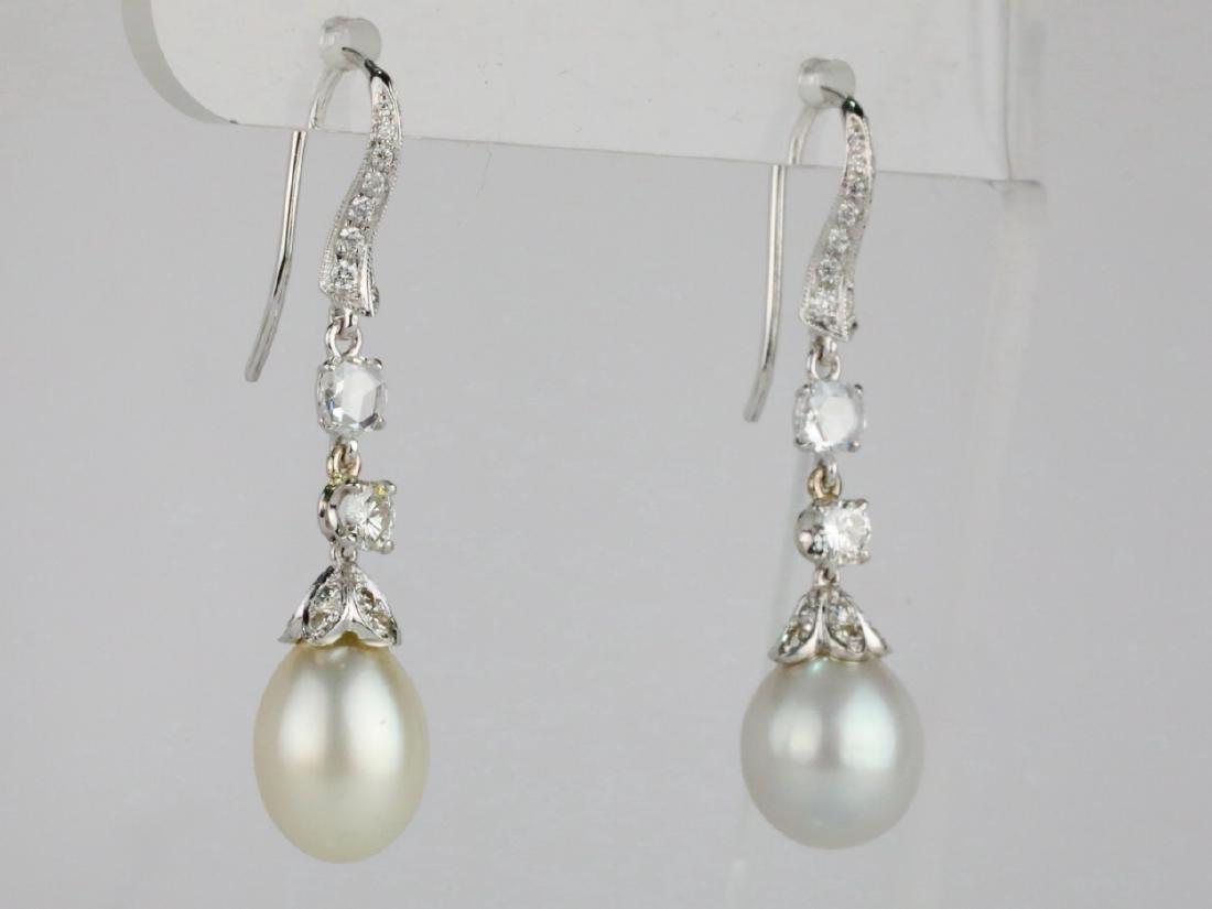 9.5mm Drop Pearl, 0.90ctw Diamond 18K Earrings - 5