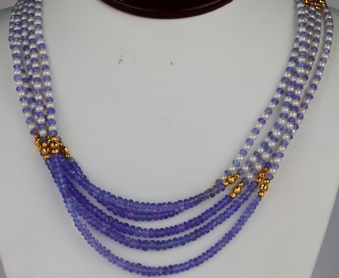 "3.5mm Pearl & Tanzanite Bead 25"" 5-Strand Necklace"
