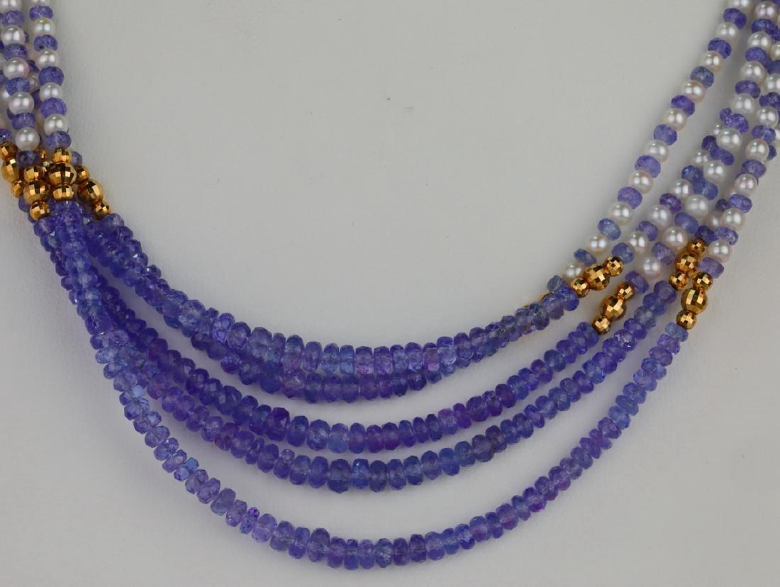 "3.5mm Pearl & Tanzanite Bead 25"" 5-Strand Necklace - 2"