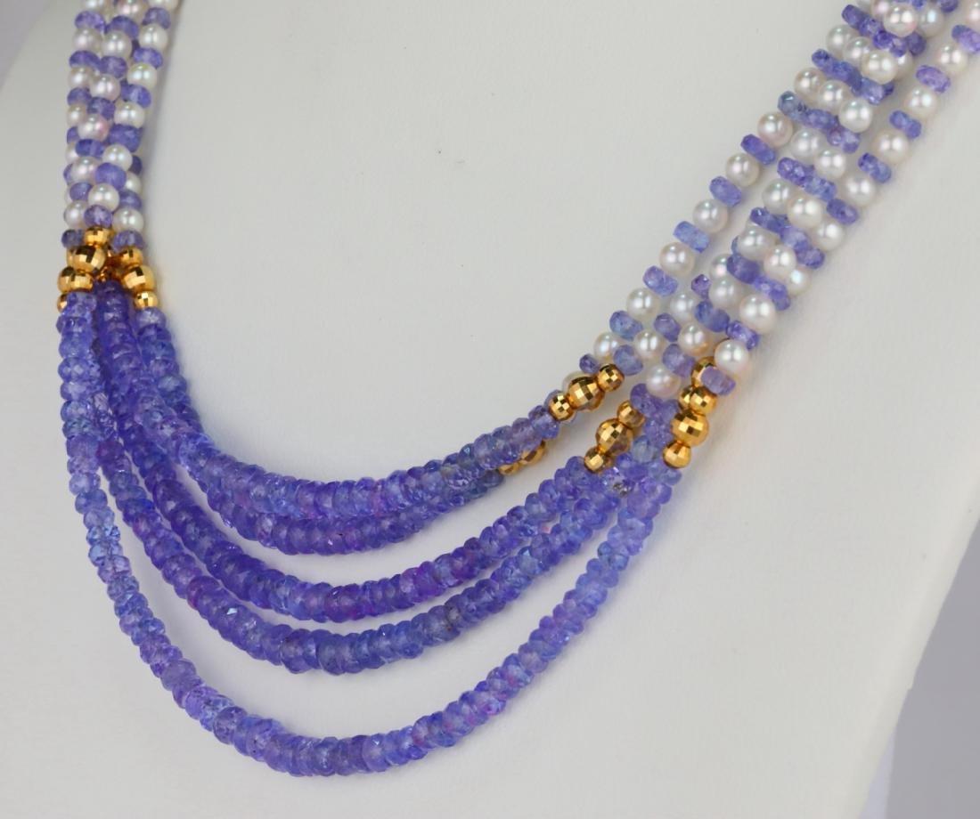 "3.5mm Pearl & Tanzanite Bead 25"" 5-Strand Necklace - 3"