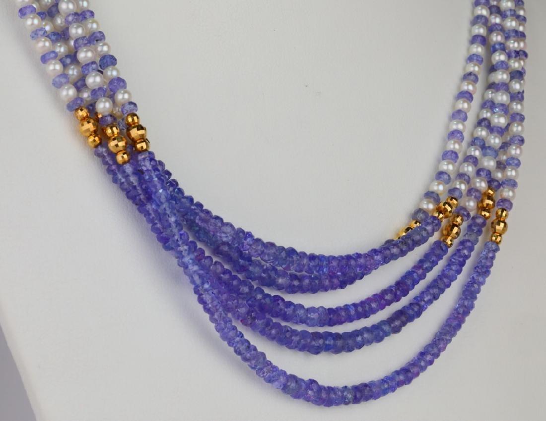 "3.5mm Pearl & Tanzanite Bead 25"" 5-Strand Necklace - 4"