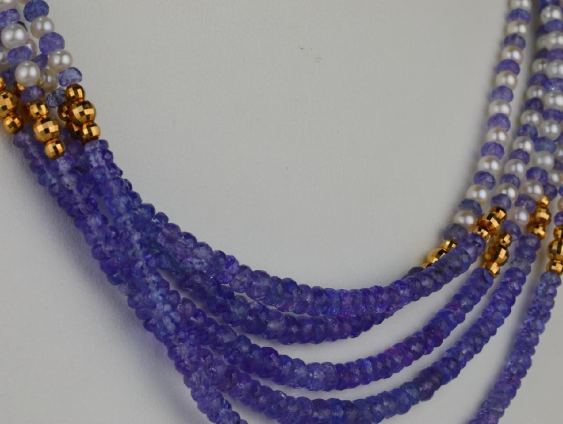 "3.5mm Pearl & Tanzanite Bead 25"" 5-Strand Necklace - 5"