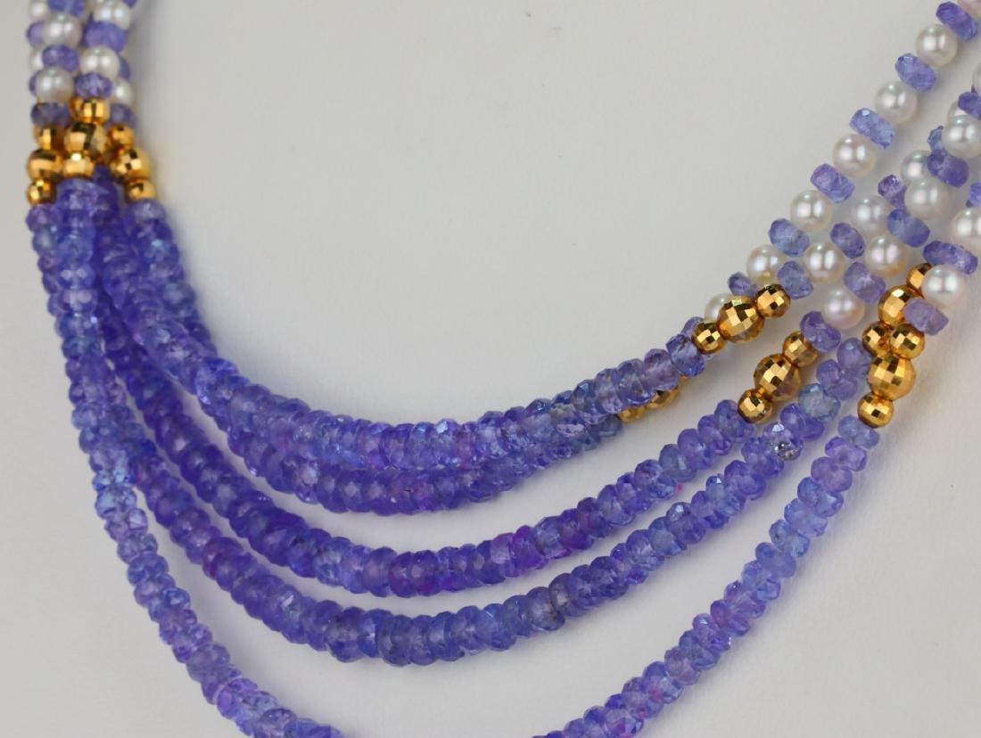 "3.5mm Pearl & Tanzanite Bead 25"" 5-Strand Necklace - 6"