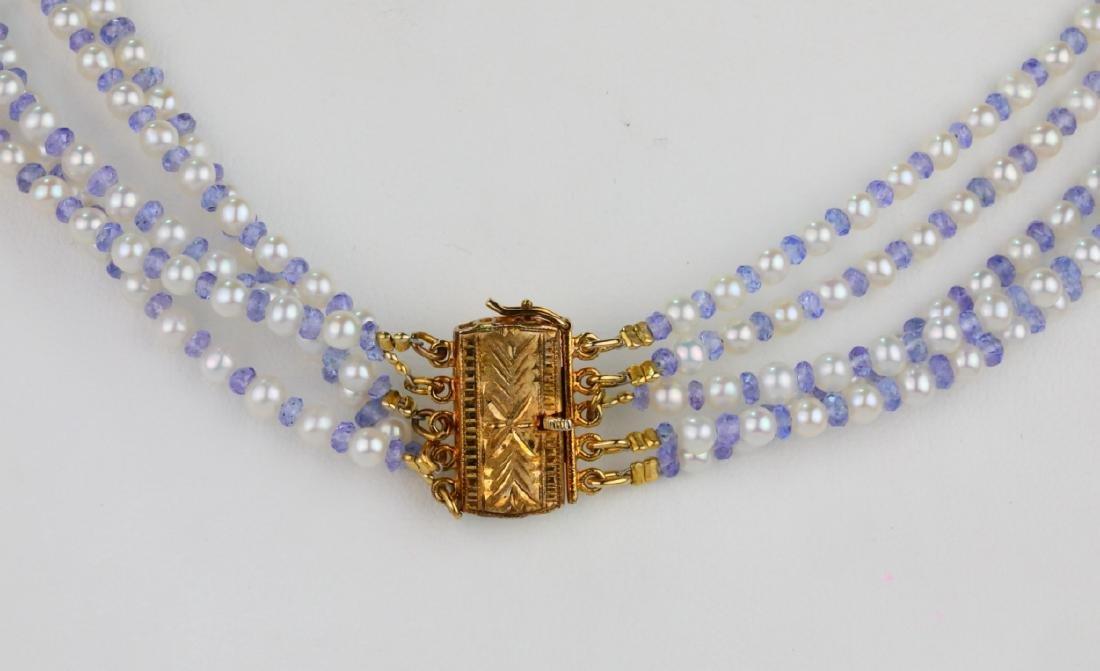 "3.5mm Pearl & Tanzanite Bead 25"" 5-Strand Necklace - 7"