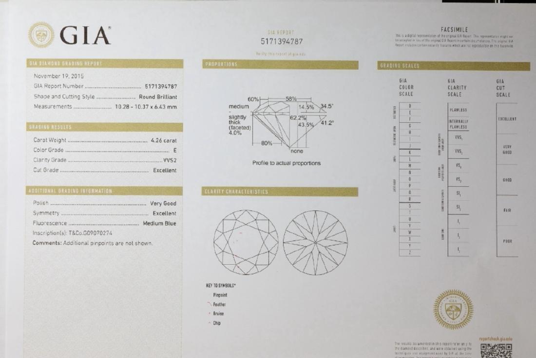 4.26ct GIA VVS2/E Diamond in Tiffany & Co. Ring - 10