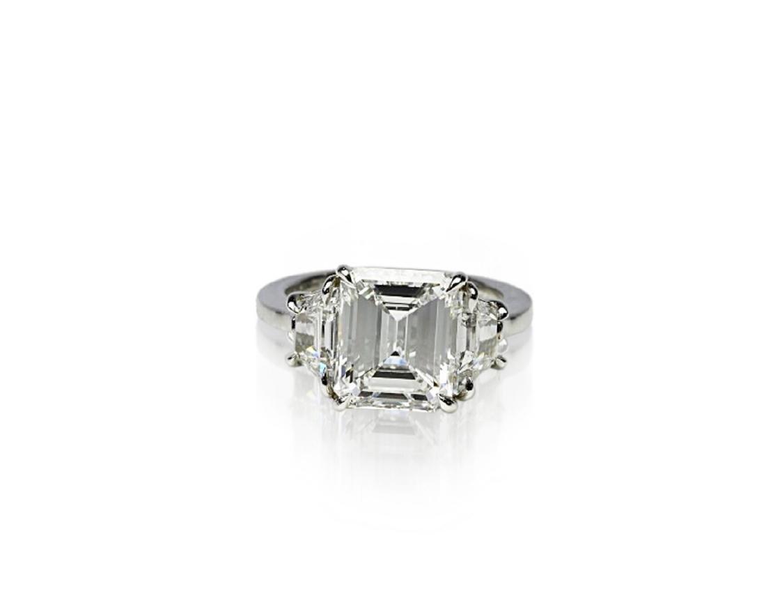 4.02ct GIA VVS1/F Diamond in Diamond & Platinum Ring