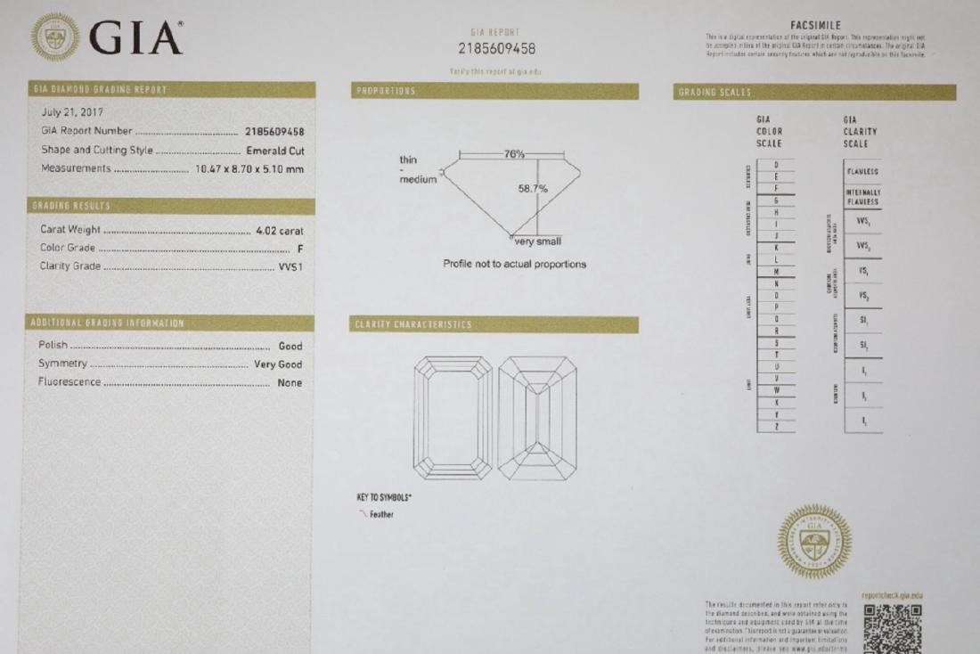 4.02ct GIA VVS1/F Diamond in Diamond & Platinum Ring - 8