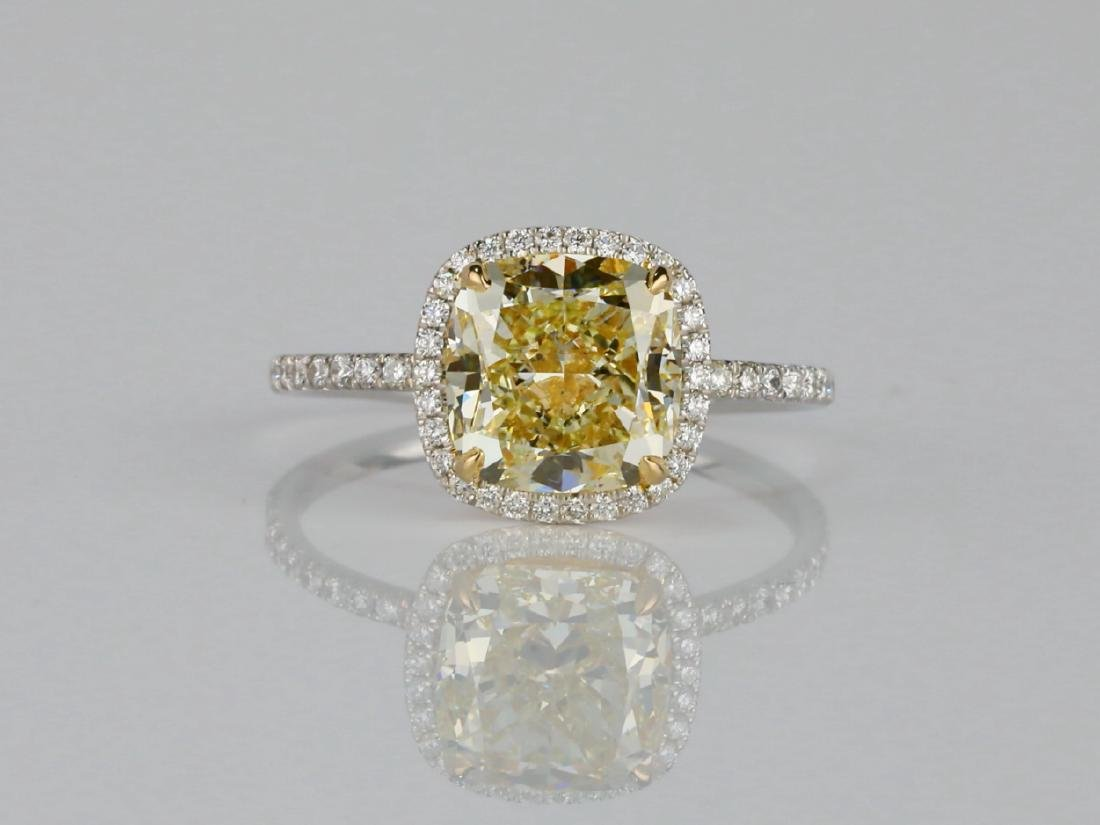 4ct VS1-VS2 Yellow/White Diamond Platinum/18K Ring