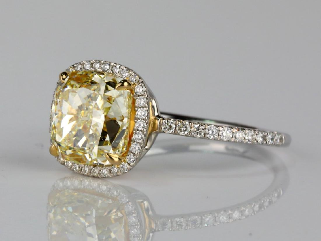 4ct VS1-VS2 Yellow/White Diamond Platinum/18K Ring - 2